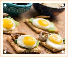 Vegetables and quail egg canapé